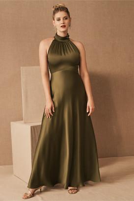 BHLDN Cortland High Neck Satin Dress