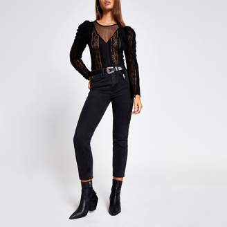 River Island Womens Black sheer lace long sleeve bodysuit