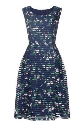 Yumi Cherry Print Fishnet Prom Dress