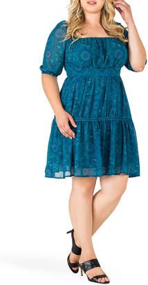 Standards & Practices Plus Size Katrina Paisley Velvet Peasant Dress