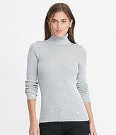Lauren Ralph Lauren Ribbed Metallic Knit Turtleneck Sweater