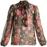 Dolce & Gabbana Rose-print silk-chiffon blouse