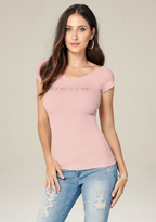 Bebe Double V-Neck Logo Tee