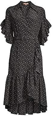 Michael Kors Women's Belted Silk Ruffle Wrap Dress
