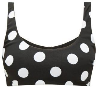 Mara Hoffman Lira Scoop-neck Polka Dot-jacquard Bikini Top - Womens - Black Print