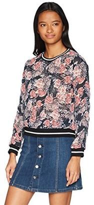 Self Esteem Women's Floral Woven Sweatshirt with Athletic Bands
