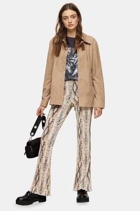 Topshop Womens Snake Print Plisse Flare Trousers - Multi