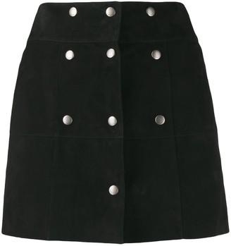Saint Laurent Textured Multi-Buttoned Mini Skirt