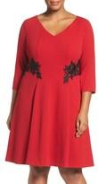 London Times Plus Size Women's Lace Trim Fit & Flare Dress