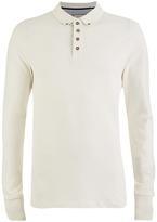 Brave Soul Men's Lincoln Long Sleeve Polo Shirt - Ecru