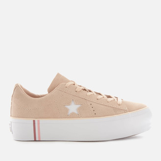 Converse One Star Platform Seasonal Suede Ox Trainers - Light Bisque/White/White
