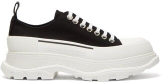 Alexander McQueen Chunky Tread-sole Canvas Trainers - Black