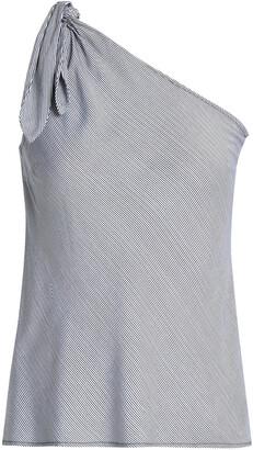 Splendid One-shoulder Knotted Striped Jersey Top