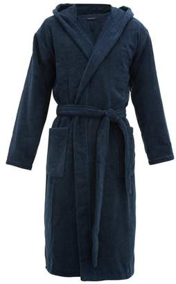 Schiesser Hooded Cotton Terry Robe - Mens - Navy