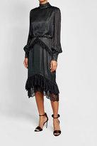 Saloni Metallic Dress with Lace