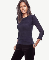Ann Taylor Ruffle Cable Sweater