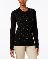 Karen Scott Petite Textured-Dot Cardigan, Only at Macy's