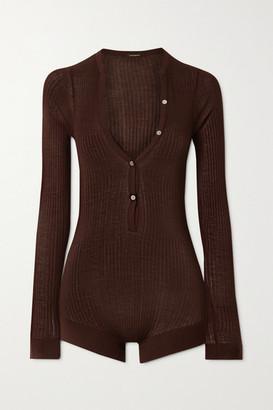 Dodo Bar Or Ribbed Silk Bodysuit - Dark brown