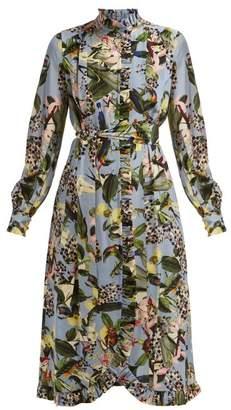 Erdem Serafina Fassett Dream-print Silk Midi Dress - Womens - Blue Multi