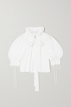 Horror Vacui Alice Tie-detailed Gathered Cotton-poplin Blouse - White