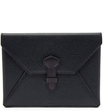 Dunhill Boston Envelope Leather Passport Holder - Mens - Navy