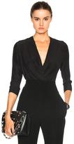 Alexandre Vauthier Satin Chiffon Bodysuit in Black.