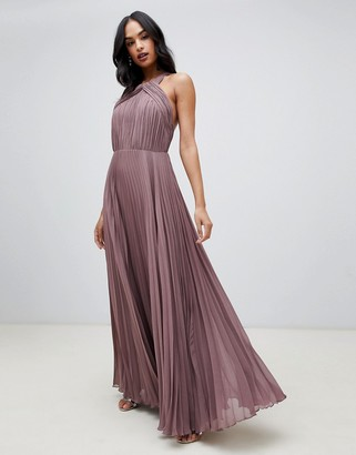 Asos DESIGN pleated bodice halter maxi dress