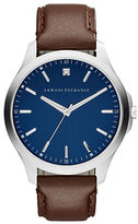 Armani Exchange Stainless Steel Diamond-Accented Brown Leather Strap Watch, AX2181
