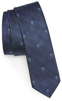Alexander McQueen Men's Prince Of Wales Skull Silk Skinny Tie
