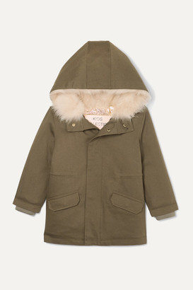 YVES SALOMON KIDS Ages 4 - 6 Hooded Metallic Shell And Faux Shearling-lined Cotton-twill Parka