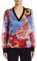 Roberto Cavalli Araki V-Neck Floral Silk Blouse