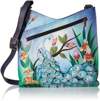 Anuschka Anna by Women's Genuine Leather Large V Top Multi-Compartment Cross Body   Hand Painted Original Artwork   Rustic Bouquet