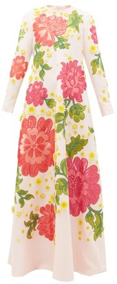 Andrew Gn Floral-applique Crepe Gown - Pink Multi