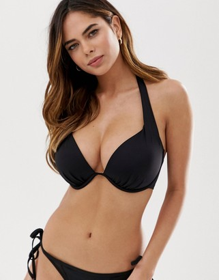 Pour Moi? Pour Moi Fuller Bust Space padded plunge bikini top in black