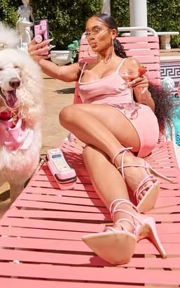 PrettyLittleThing Baby Pink Strappy Velvet Bodycon Dress