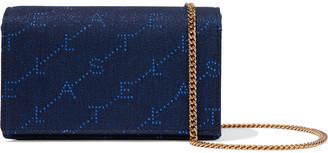 Stella McCartney Monogram Mini Metallic Denim-jacquard Shoulder Bag