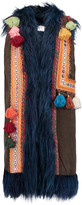 Stella Jean Faux fur-trimmed embellished faux suede gilet