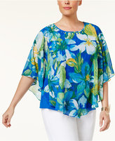 Alfred Dunner Plus Size Corsica Collection Embellished Poncho Top