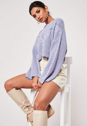 Missguided Lilac Cable Knit Front Wide Sleeve Cropped Sweater