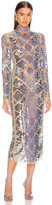 David Koma Plexi Embroidered Long Sleeve Net Dress in Beige & Blue | FWRD
