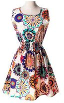 YINHAN Women's Sleeveless Summer Dresses Plus Size Beach Floral Dress L