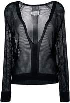 Maison Margiela sheer V-neck sweater