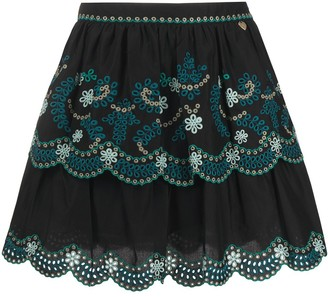Twin-Set floral embroidered A-line skirt