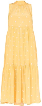Asceno polka-dot tiered dress