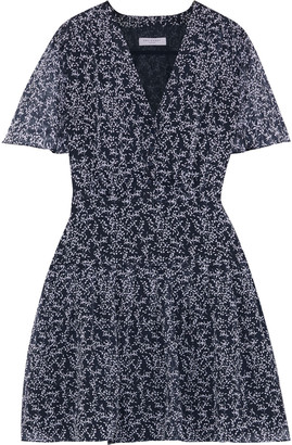 Equipment Lisle Pleated Floral-print Silk-chiffon Mini Dress