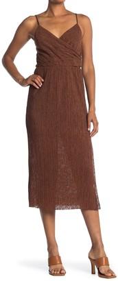 Lush Pleated Surplice Midi Dress