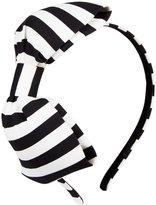 Kate Spade Large Bow Headband - Black/Cream Stripe-One Size