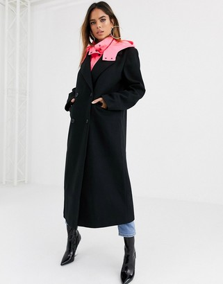 Asos Design DESIGN hybrid coat with padded underlayer in black