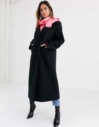 Asos DESIGN hybrid coat with padded underlayer in black