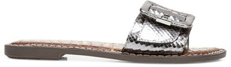 Sam Edelman Granada Flat Snakeskin-Embossed Metallic Sandals